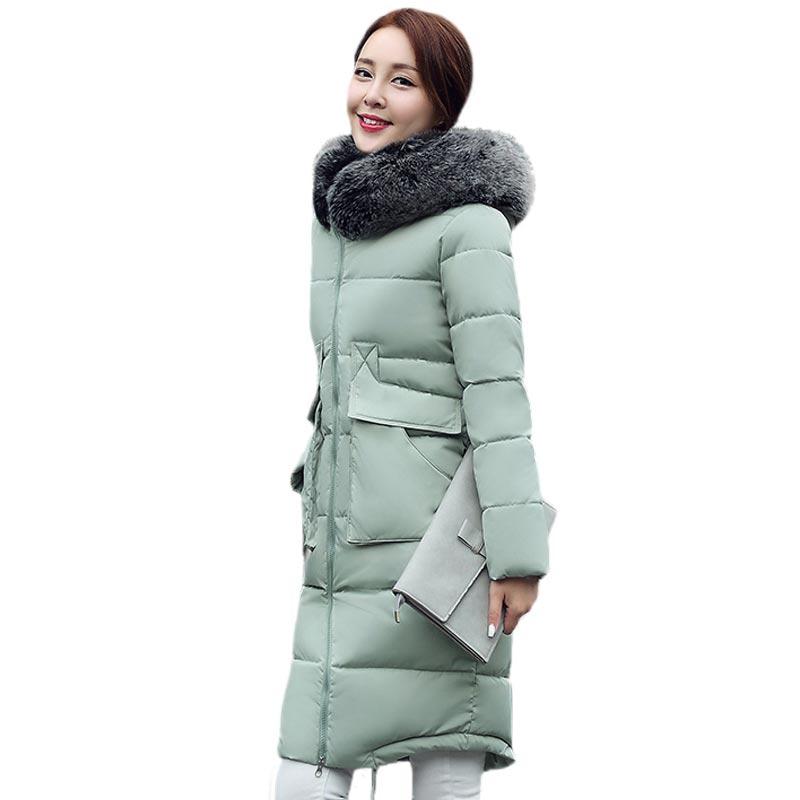 2016 New winter jacket coat womens knee length Cotton Padded with fur collar hooded slim fit Quality Jackets PW0857Îäåæäà è àêñåññóàðû<br><br>