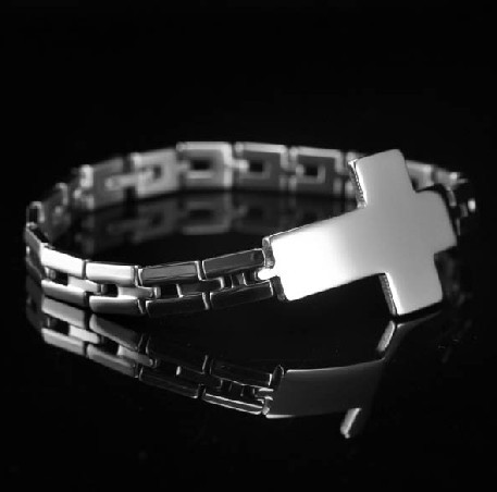 Wholesale 10pcs lot Fashion bracelet 316L stainless steel Boy & Men's cross chain bracelet  XMAS jewelry silver 21cm