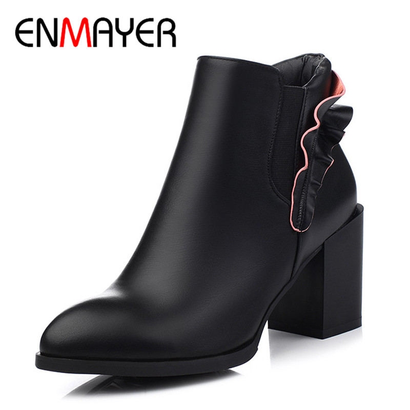 ENMAYER 2 Colors Black Blue Shoes Woman Charm Ankle Boots for Women High Heels Shoes Pointed Toe Autumn&amp;Winter Boots Falbala<br>