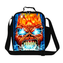 Dispalang Coll Skull Men Small Lunch Bag Kids Lunch Banto Box Keep Food Warm Travel Picnic Bag With Zipper Cooler Bag For School(China)
