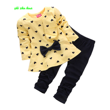 2017 Spring and Autumn Children's Clothing Pants Set 2pcs 2-5 year old girl's clothes fashion suit cartoon print child's clothes(China)