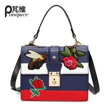 Buy PONGWEE 2017 Womens Hand Bags Channels Handbags Female Famous Brand handbags Cartoon appliques bag women shoulder flap bags for $22.75 in AliExpress store