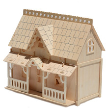 Freeshipping Educational Large Porch House Wooden 3D Building Miniature Scale Models