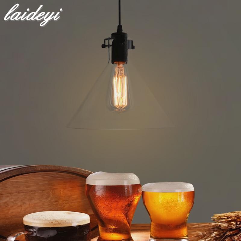 LAIDEYI Vintage Glass Pendant Lamps Indoor Home Industry Lighting Bar Restaurant Loft Decorative  Lighting Fixture Touw Lamp<br>