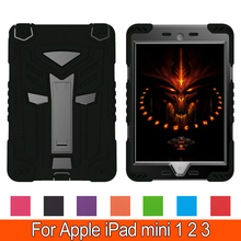 Shock Proof Case Dual Armor Body and Stand Kids Super Protection Cover with Robot Design for Apple iPad mini 1 2 3 7.9''