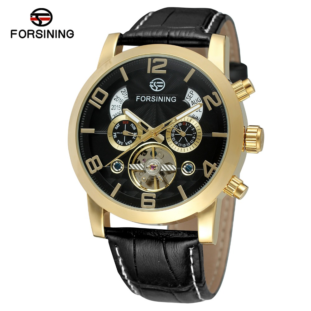 FORSINING Mens Unique New Design Luxury Automatic Movement Popular Style Genuine Leather Strap Wristwatch Whole Sale Watches<br>
