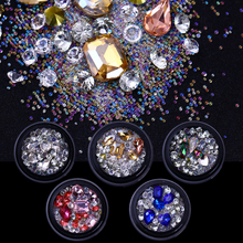 AB Color Crystal Beads Nail Art 3D Decorations Sharp Bottom Micro DIY Nail Rhinestones Manicure Nail Decoration Body Art UV Gel