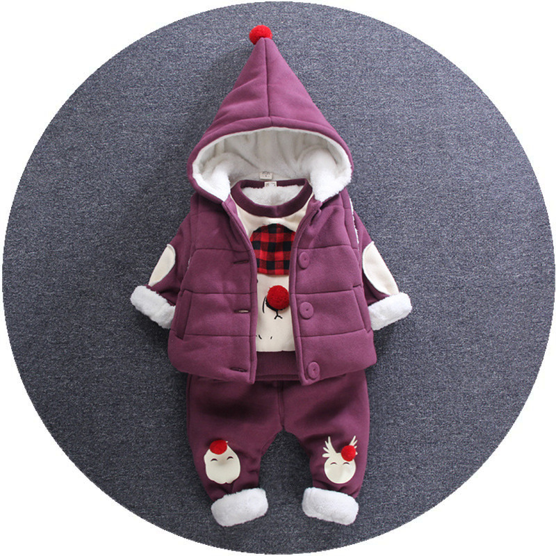 2017 autumn and winter new fashion range of two - piece set of children s solid color bunny hooded suit girls age from 1-5T<br><br>Aliexpress