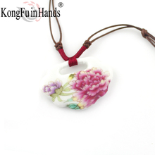 New Design handmake pink Flower long necklace vintage peony big pendant ceramic jewelry handicraft Christmas gift free shipping(China)