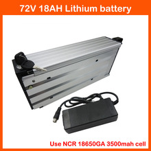 2800W 72V 18AH Rear rack Battery 72V electric bicycle battery Use SANYO 3500mah cell 40A BMS 2A Charger Free customs fee