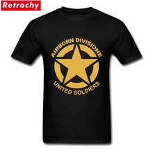 Airborne Division Tee United Soldiers Tees Men Loose Fitted Cotton Hip Hop Star Logo USA T-shirts European Style Big Size Shirts