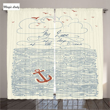 Curtains LivingRoom Nautical Decor My Love As Deep As The Ocean Home Design Waves Anchor Cream Blue Bedroom 2 Panels 145*265 sm