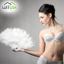 WITUSE 30pcs/lot Nice Chinese Folding Fan Showgirl Feather Fan For Dance Props Hand Goose Feather Folding Fan Wedding 10 Colors