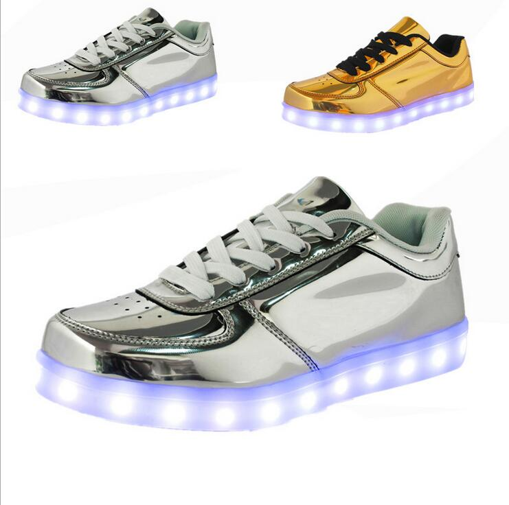 Unisex Shoes 2017 New Men LED Shoes Fashion Growing Luminous Light Shoes For adult golden and silver Casual Shoes<br><br>Aliexpress