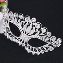 Women Girl Venetian Masquerade Mask Crystal Cosplay Mardi Gras Eye Costume Ball Prom Show Mask For Party Wedding(China)
