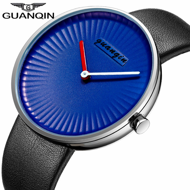 GUANQIN Clock Men Simple Blue Mens Watch Black Leather Strap Quartz Watch Waterproof Creative Wristwatch Mens Best Gifts 2017 <br>