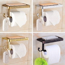 Qomolangma Antique Carving Toilet Roll Paper Rack wiht Phone Shelf Wall Mounted Bathroom Paper Holder And hook and phone shelf