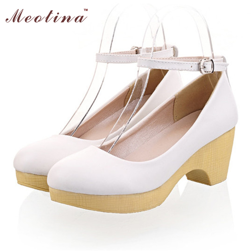 Women Shoes Platform Shoes Chunky High Heels Ankle Strap Shoes Comfort Causal Ladies Shoes White Blue Pink Size 34-39<br><br>Aliexpress