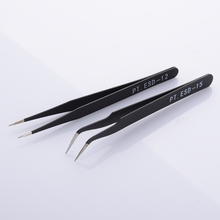 New 2Pcs Anti-Static Curved Stainless Steel Curved Straight Eyebrow Tweezers Eyelash Extension Nail Art DIY  Makeup Tools Kit