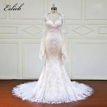 Buy Eslieb Custom made Mermaid Wedding Dresses Appliques lace Button Bridal Gowns Vestido De Novias Wedding Dress XF17078 for $455.40 in AliExpress store