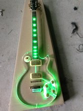 Free shipping lp Led light acrylic body electric guitar/fret light guitar gold hardware(China)