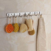 3/4/5/6/7/8 Stainless Steel Robe Hooks Bathroom Kitchen Clothes Towel Rack Hat Coat Adhesive Hanger Wall Nail Decorate Mounted