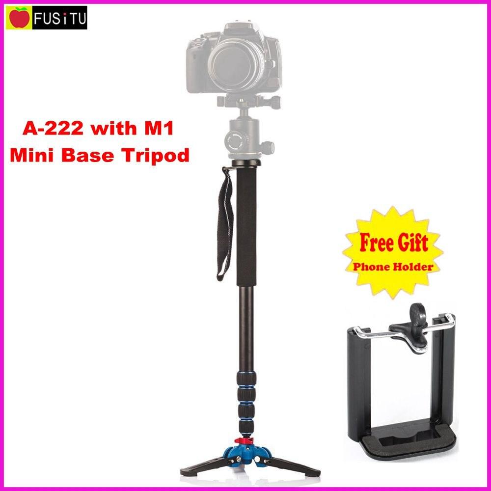 Manbily A-222 +M-1 Walking Stick Base Tripod 1650mm Alumninum Camera Unipod Monopod Flip Lock w/3 Legs Base Tripod For DSLR DV<br>