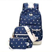 Portable Women Canvas Backpack School bags For Teenagers Backpacks Set Composite Bags Casual Travel bags Shopping Backpacks H865