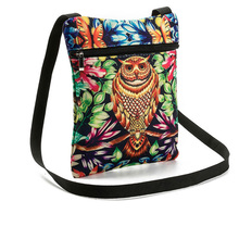 New Women Messenger Bags Lovely Cartoo Dual Zipped Cartoon Owl Embroidered Shopping Dating Ladies Girls Shoulder Bag Popular(China)