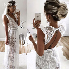 Buy Fashion Sexy Hollow White Lace Dress Elegant Christmas Maxi Long Dress Women Spring High Waist Sleeveless Backless Dress for $50.59 in AliExpress store