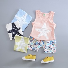 Casual Newborn Kids Baby Boys Girls Summer Short Clothing Set Starfish Printed Vest + Shorts Toddler Summer Clothes Set PN40