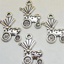 BULK 30 Zinc Alloy Baby Carriage Charms Baby Shower Gift Idea Antique Silver Plated Bracelet Bangle Charm Pendants 17*18mm 0.8g
