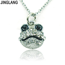JINGLANG (Birthday's Gift) New Design Best Selling High Quality Fashion Silver Frog-faced Pendant Necklace with Crystal(China)