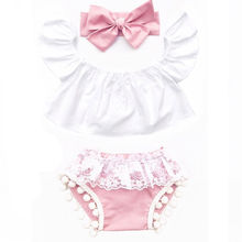 Buy 3Pcs Newborn Baby Clothes Sets Adorable Girl Ruffle Top Lace Tassel Shorts Infant Girls Pink Cotton Headband Outfit Set Clothes for $4.92 in AliExpress store