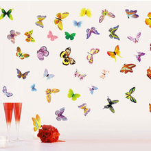 LP New 50x70cm Removable wall stickers butterfly colorful glass cabinets decorative decal window sticker - door label KW- JM8205