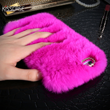 KISSCASE Real Rabbit Fur Case For iPhone 7 6 6S Plus 5 5S SE Hair Cover Diamond Case For Samsung Galaxy S8 S8+ S6 S7 Edge Note 4