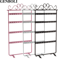 GENBOLI 48 Hole Earrings Ear Studs Display Rack Metal Jewelry Organizer Holder Stud Earring Showing Stand Showcase 295*160mm(China)