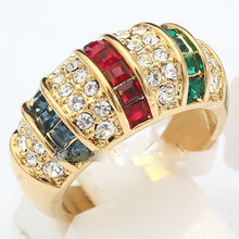FREE SHIPPING wholesale Fashion Simulated Gem Ring GP & Crystal Size 6-9(China)
