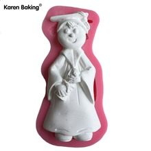 Cute Boy With Academic Dress Figure 3D Silicone Fondant Cake Mold Tools For Cake Decorating -C505