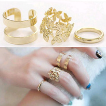 3pcs/ lot Fashion Vintage Punk Style Metal Gold/Silver Plated Leaf Above Knuckle Hollow Out Leave Band Midi FingerJoint Set Ring