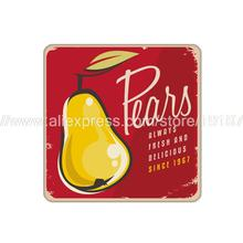 4pcs/set Fruit pear printed custom Home Table Mat Bakery Creative Decor Wholesale Drink Placemat cork red cup coaster(China)