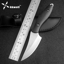 Sharp hunting knife Camping Tactics fixed straight knife 7Cr13mov outdoor ebony wood handle survival rescue knives EDC tools(China)