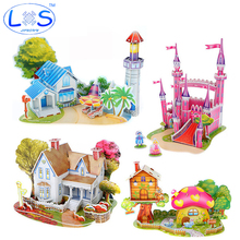 (LONSUN)New 3 d three-dimensional jigsaw puzzle selling houses castle building educational model toys Children's toy
