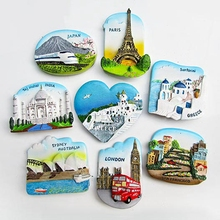 Resin 3D Fridge Magnets Greece India Taj Mahal Sydney Opera House France Japan Refrigerator Magnetic Stickers Home Decoration