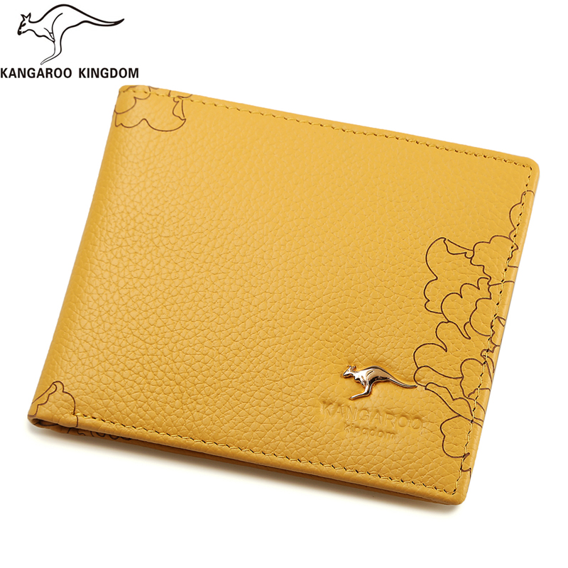KANGAROO KINGDOM luxury women wallets genuine leather slim bifold wallet brand lady small purse<br>