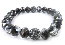 MOODPC Free Shipping shiny facet half coated crystal glass beads grey pave disco ball bracelet ladies handwork bracelet