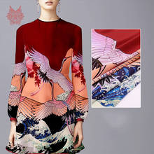 140*160cm 1PC luxury cranes positioning print 100% silk crepe de chine fabric for dress pure silk tissue tela tejido 16mm SP4334