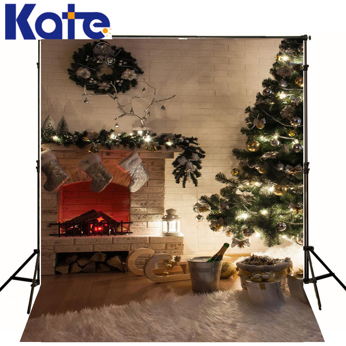 Christmas Photo Background Tree Fireplace Newborn Photography Backdrops Wood Beer Light Backgrounds For Photo Studio<br>