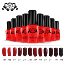 Wine Red soak off 15ml pure color uv nail gel 12colors the best quality