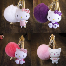 CXZYKING Hello Kitty Plush Stuffed Dolls For Children Kawaii Baby Toys Hello Kitty Keychain Ring Plush Pendant Gift For Girl(China)